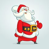 Funny cartoon Santa claus character pointing hand isolated white background. Vector Christmas illustration. Stock Photos