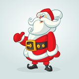 Funny cartoon Santa claus character pointing hand isolated white background. Vector Christmas illustration. Stock Images