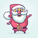 Funny cartoon Santa claus character pointing hand isolated white background. Vector Christmas illustration Stock Photos