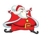 Funny cartoon Santa claus character waving hands isolated white background. Vector Christmas Stock Images