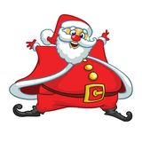 Funny cartoon Santa claus character waving hands isolated white background. Vector Christmas illustration. Stock Photos