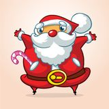 Funny cartoon Santa claus character waving hands isolated white background. Vector Christmas illustration. Design for print Stock Image