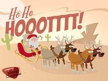 Funny cartoon santa claus in desert Stock Photos