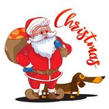 Funny cartoon Santa Claus with sack of presents on his back and brown Dachshund - symbol of the year. Colored Santa Claus isolated on white background. Vector Stock Images