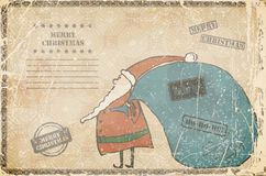 Funny cartoon Santa on a old background. vector illustration