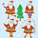 Funny cartoon Santa's. Stock Photos
