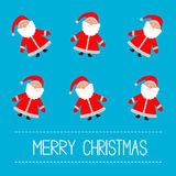 Funny cartoon Santas. Blue background. Merry Christmas card. Royalty Free Stock Photography