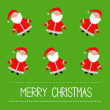 Funny cartoon Santas. Green Background. Merry Christmas card. Royalty Free Stock Image