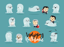 Funny cartoon schoolboy character and ghosts, Stock Image