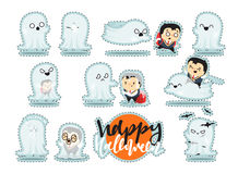 Funny cartoon schoolboy character and ghosts, Stock Images
