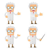 Funny cartoon scientist giving presentation Royalty Free Stock Image
