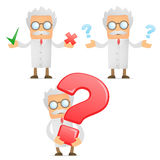 Funny cartoon scientist with a question mark Stock Image