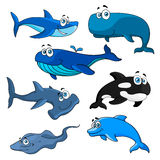 Funny cartoon sea animals characters Royalty Free Stock Photo