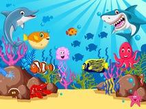 Funny cartoon sea life for you design vector illustration