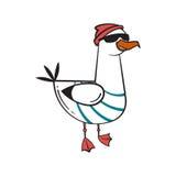 Funny cartoon seagull, steep. Thug life. Royalty Free Stock Photos