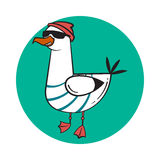 Funny cartoon seagull, steep. Thug life. Stock Images