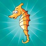Funny cartoon seahorse Stock Photos