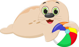 Funny cartoon seal playing a colorful ball Stock Images
