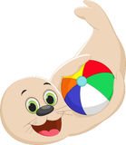 Funny cartoon seal playing a colorful ball Royalty Free Stock Photos