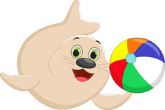 Funny cartoon seal playing a colorful ball Stock Photos
