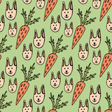 Funny cartoon seamless pattern for children or easter background. Rabbits and carrots Stock Images