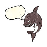 funny cartoon shark with speech bubble Stock Image