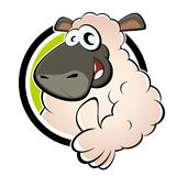 Funny cartoon sheep. In round badge with thumbs up Royalty Free Stock Photo