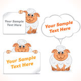 Funny Cartoon Sheep with Banners Royalty Free Stock Images