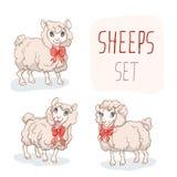 Funny Cartoon Sheep Character Set Stock Image