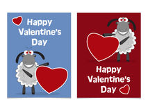 Funny cartoon sheep cub with red heart. Happy Valentines Day Car Stock Photography