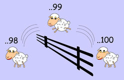 Funny cartoon sheep jumping through the fence Stock Photography