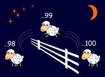 Funny cartoon sheep jumping through the fence Royalty Free Stock Photo