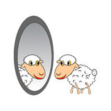 A funny cartoon sheep looking at itself in a mirro Stock Image