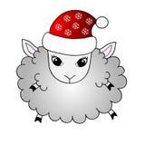 Funny cartoon sheep in santa hat Royalty Free Stock Photo