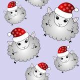 Funny cartoon sheep in santa hat Stock Photos