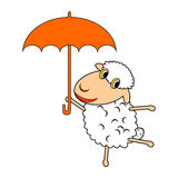 A funny cartoon sheep with an umbrella Royalty Free Stock Image