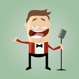 Funny cartoon singer Stock Images