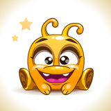 Funny cartoon sitting yellow alien monster. Character, kids vector illustration, isolated on white Stock Images