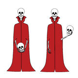 Funny cartoon skeletons. In their red cloaks with a skull in his hands royalty free illustration