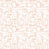 Funny cartoon sketch cats background Royalty Free Stock Photography