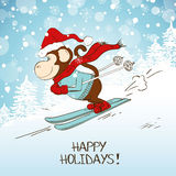 Funny Cartoon Skiing Monkey. Royalty Free Stock Photo
