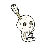 Funny cartoon skull and arrow Stock Images