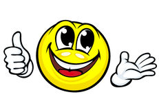 Funny cartoon smile. Makes good or ok gesture Royalty Free Stock Photography