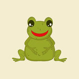 Funny cartoon of a smiling green frog. Royalty Free Stock Photo