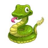 Funny cartoon smiling green snake Royalty Free Stock Photo