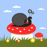 Funny cartoon snail on a toadstool Royalty Free Stock Photos