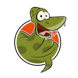 Funny cartoon snake in a badge Royalty Free Stock Image