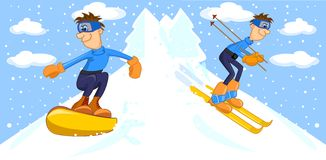 Funny cartoon snowboarder and skier,vector Royalty Free Stock Photography