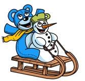 Funny cartoon snowman and bear illustration, Chritmas theme royalty free stock photo