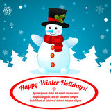 Funny Cartoon Snowman on Christmas Background. Royalty Free Stock Photography